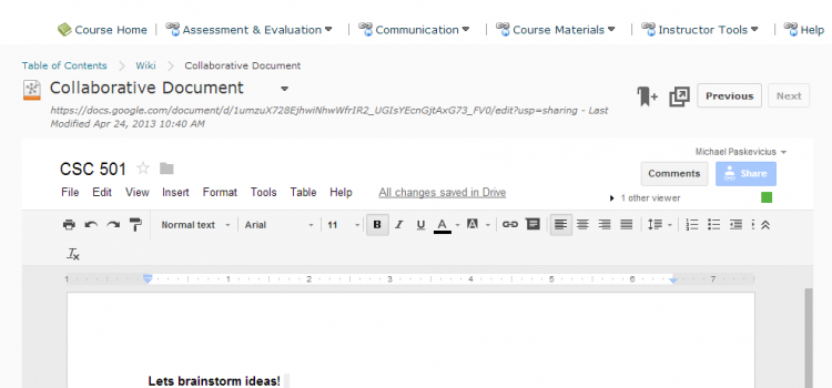 Collaborative Documents in your D2L Course