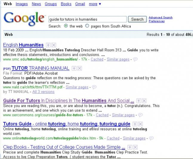 Tutors Humanities Google